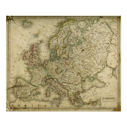 Antique Map of Europe Poster