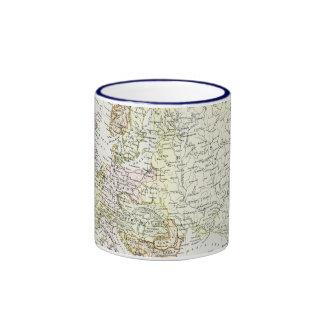 Antique map of Europe Ringer Mug