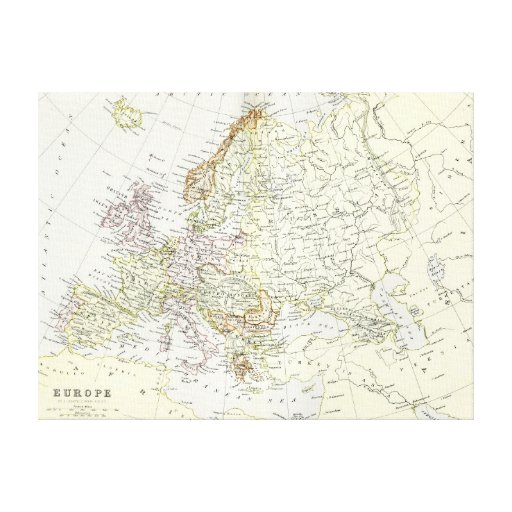 Antique map of Europe Stretched Canvas Print
