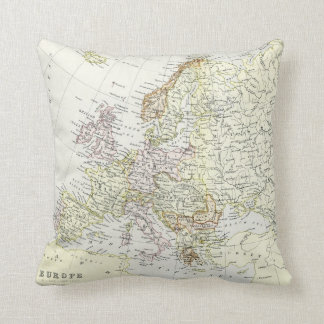 Antique map of Europe Throw Pillow