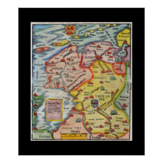 Antique Map of Fiesland - Fryslân - West Frisia Poster