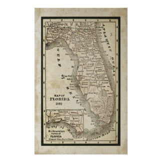 Antique Map of Florida Poster