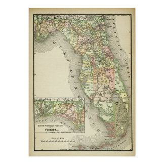 Antique Map of Florida, Quilted Colors Vintage Map Poster