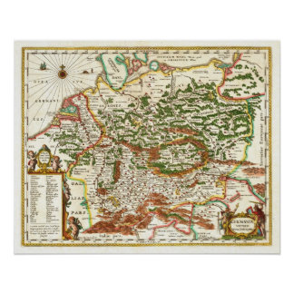 Antique Map of Germany c. 1657 Poster