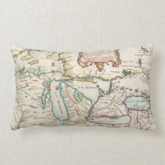 Antique Map of Great Lakes Lumbar Pillow