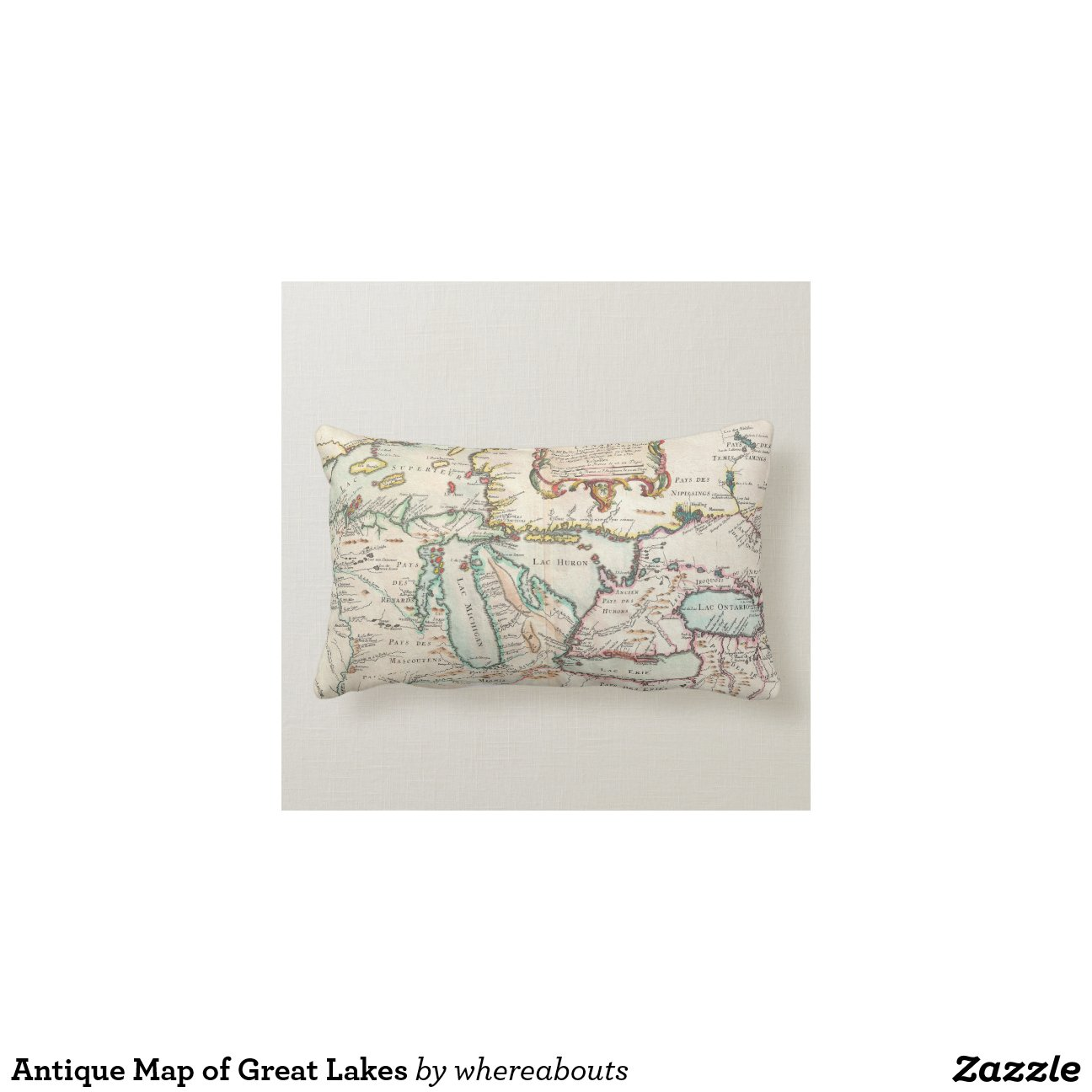 Antique Map of Great Lakes Throw Pillows Zazzle
