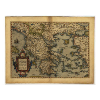 Antique Map of Greece ORTELIUS ATLAS 1570 A.D. Poster