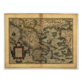 Antique Map of Greece ORTELIUS ATLAS 1570 A.D. Poster