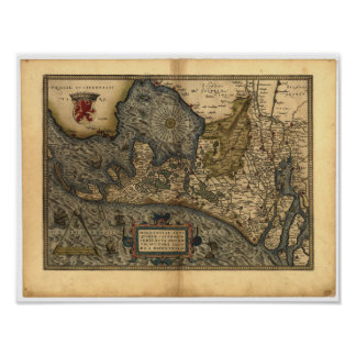 Antique Map of Holland, the Netherlands 1570 A.D. Poster