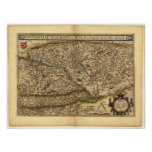 Antique Map of Hungary ORTELIUS ATLAS 1570 A.D. Posters