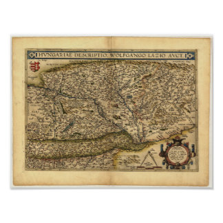 Antique Map of Hungary ORTELIUS ATLAS 1570 A.D. Poster