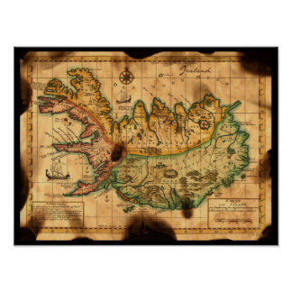 Antique Map of Iceland Poster
