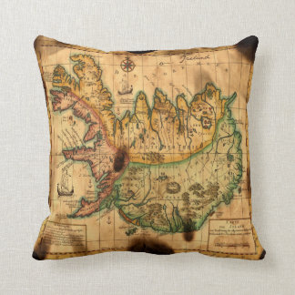 Antique Map of Iceland Throw Pillow