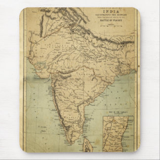 Antique Map of India in the 19th Century Mouse Pad