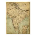 Antique Map of India in the 19th Century Postcard