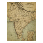 Antique Map of India in the 19th Century Print