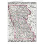 Antique Map of Iowa & Missouri circa 1874 Greeting Card