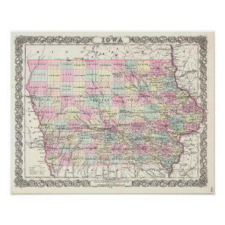 Antique Map of Iowa Vintage Decor Poster
