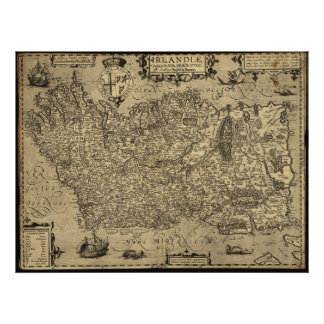 Antique Map of Ireland 1606 Posters