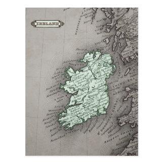 Antique map of Ireland, green Postcard