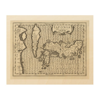 antique map of Japan Wood Wall Decor