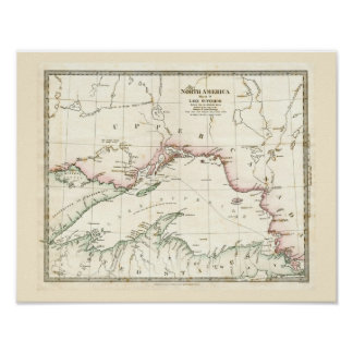 Antique map of Lake Superior Poster