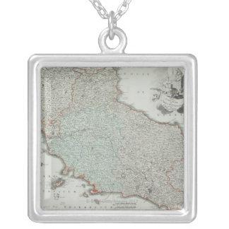 Antique Map of Lazio, Italy Square Pendant Necklace