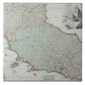 Antique Map of Lazio, Italy Tiles