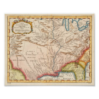 Antique Map of Louisiana 1760 Posters
