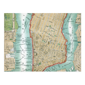 Antique Map of Lower Manhattan and Central Park Postcard
