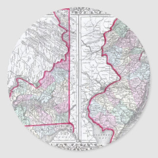 Antique Map of Maryland, New Jersey, & Delaware Classic Round Sticker