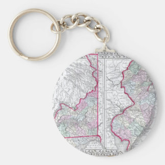 Antique Map of Maryland, New Jersey, & Delaware Keychains