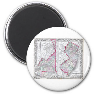 Antique Map of Maryland, New Jersey, & Delaware Magnet