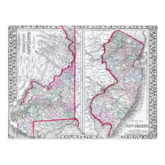 Antique Map of Maryland, New Jersey, & Delaware Postcard