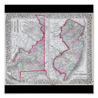 Antique Map of Maryland, New Jersey, & Delaware Poster