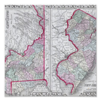 Antique Map of Maryland, New Jersey, & Delaware Posters