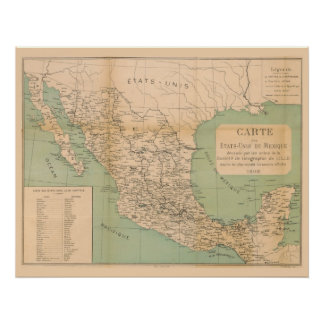 Antique Map of Mexico Etats Unis du Mexique Poster