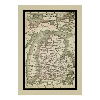 Antique Map of Michigan Poster