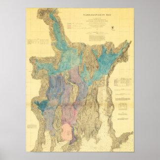 Antique Map of Narragansett Bay Rhode Island Poster