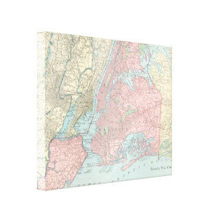 Antique Map of New York City Canvas Print