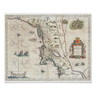 Antique Map of New York, New England Poster