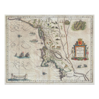 Antique Map of New York, New England Print
