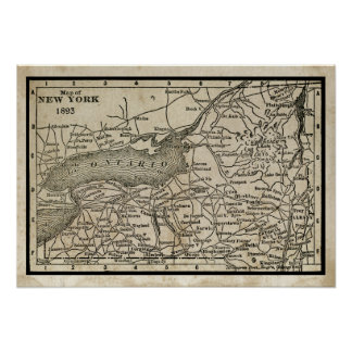 Antique Map of New York Poster
