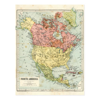 Antique map of North America Postcard