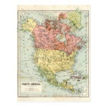 Antique map of North America Postcards
