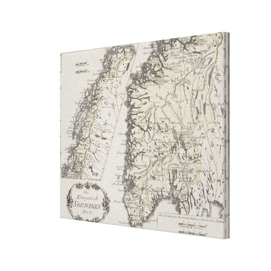 Antique Map of Norway Canvas Print