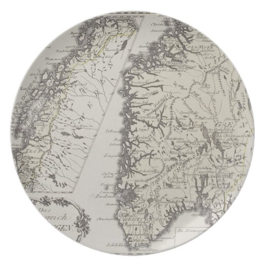 Antique Map of Norway Dinner Plate