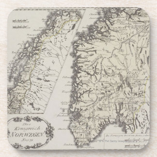 Antique Map of Norway Drink Coaster