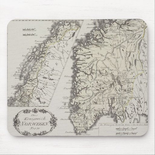 Antique Map of Norway Mousepads