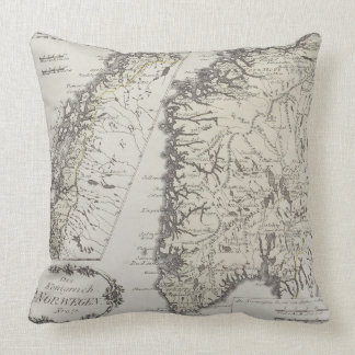 Antique Map of Norway Throw Pillows